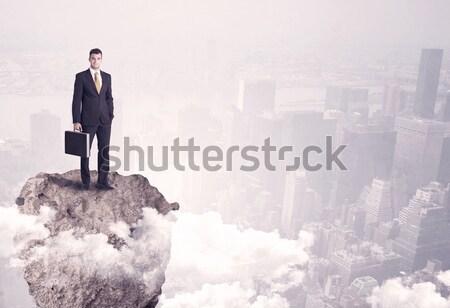 勝者 事業者 立って 岩 小さな 成功した ストックフォト © ra2studio