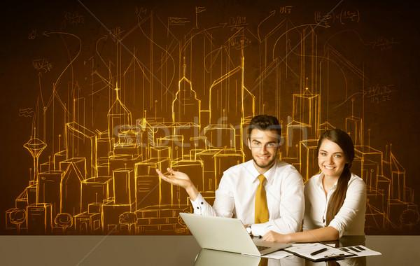 Business paar gebouwen nummers vergadering zwarte Stockfoto © ra2studio