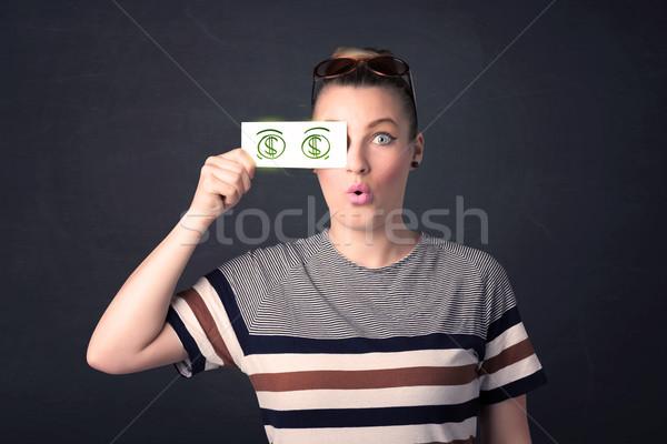 Młoda dziewczyna papieru zielone znak dolara działalności Zdjęcia stock © ra2studio