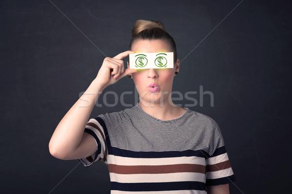 бумаги зеленый знак доллара бизнеса Сток-фото © ra2studio