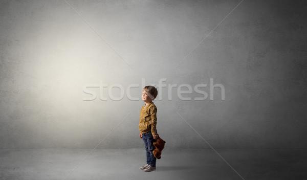 мало Kid пустой комнате только большой плюш Сток-фото © ra2studio