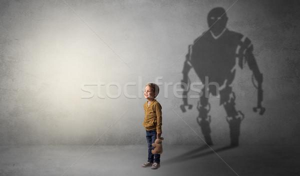 Schaduw cute weinig jongen afbeelding groot Stockfoto © ra2studio