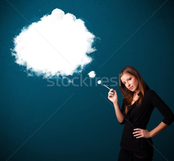 若い女性 喫煙 不健康 たばこ 煙 ストックフォト © ra2studio