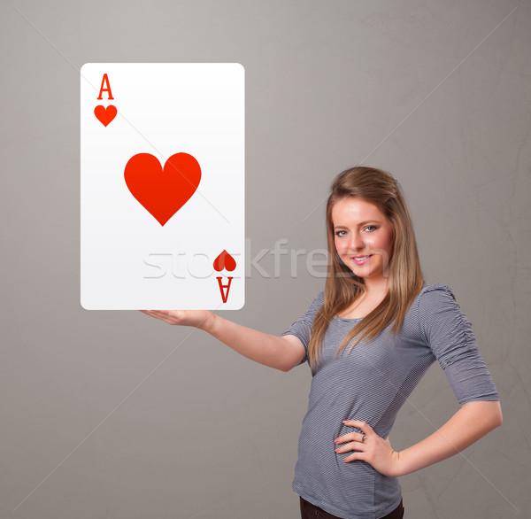 женщину красный сердце туз Сток-фото © ra2studio