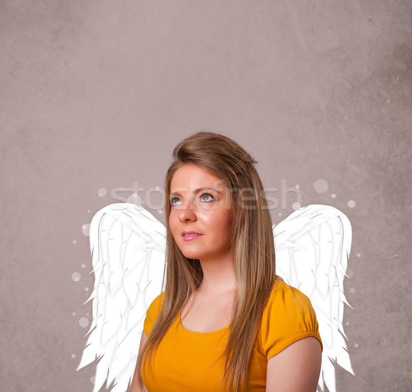 Bonitinho pessoa anjo ilustrado asas sujo Foto stock © ra2studio