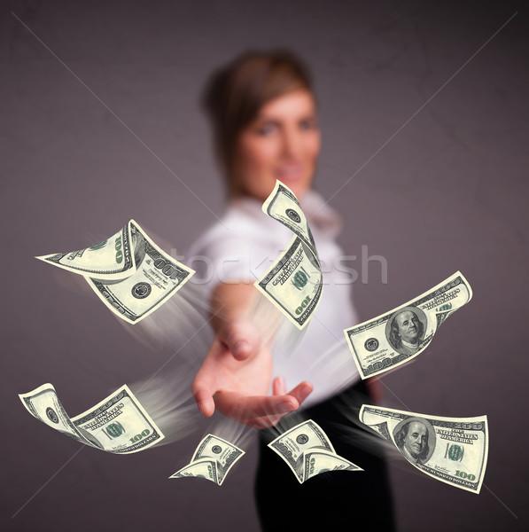 Joven dinero hermosa mujer papel Foto stock © ra2studio