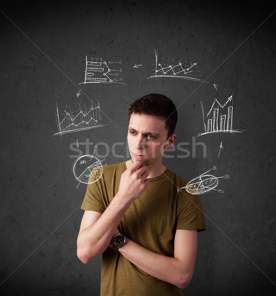 Young man thinking with charts circulation around his head Stock photo © ra2studio