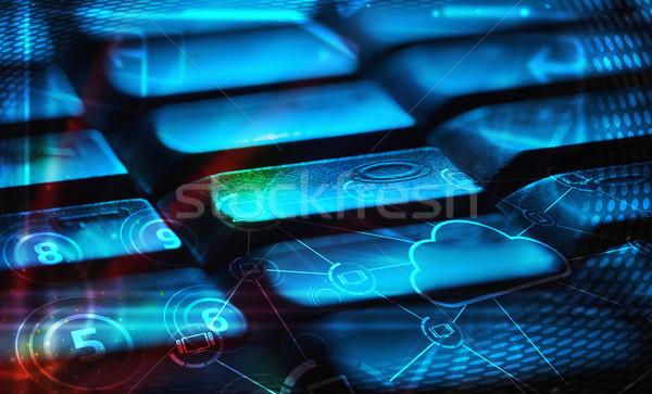 ストックフォト: キーボード · 雲 · 技術 · アイコン · コンピュータのキーボード