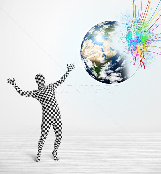 Funny Mann Körper Anzug schauen farbenreich Stock foto © ra2studio