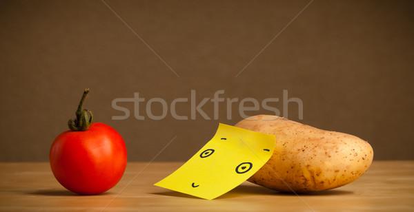 ストックフォト: ジャガイモ · 注記 · 見える · トマト · を見て · 食品