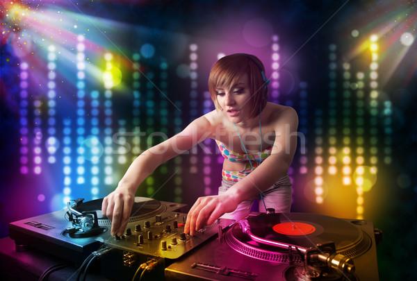 Menina jogar discoteca luz mostrar bastante Foto stock © ra2studio