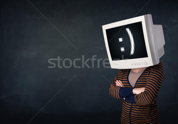 Foto stock: Engraçado · menina · monitor · caixa · cabeça · rosto · sorridente