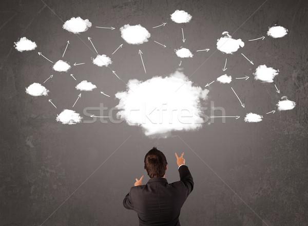 Stok fotoğraf: Işadamı · oturma · bulut · teknoloji · üzerinde · kafa