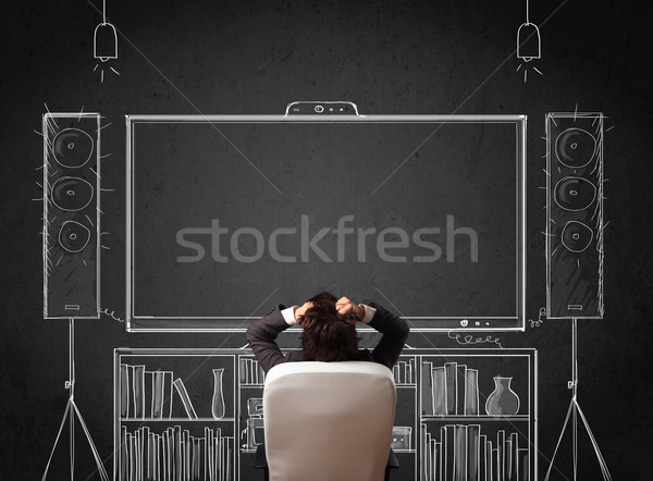 Zakenman home cinema jonge vergadering genieten man Stockfoto © ra2studio