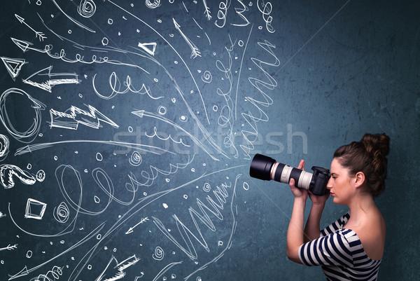 Fotógrafo disparo energético dibujado a mano líneas Foto stock © ra2studio