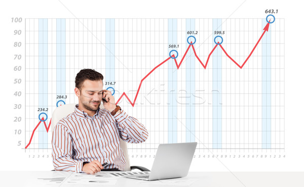 Businessman calculating stock market with rising graph in the ba Stock photo © ra2studio