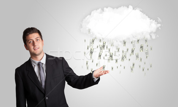 Man with cloud and money rain concept Stock photo © ra2studio
