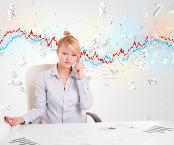 Donna d'affari seduta tavola mercato azionario grafico 3D Foto d'archivio © ra2studio