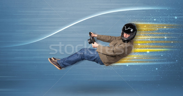 молодым человеком вождения мнимый быстро автомобилей расплывчатый Сток-фото © ra2studio