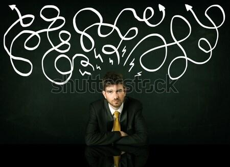 Empresário sessão secretária deprimido homem trabalhar Foto stock © ra2studio