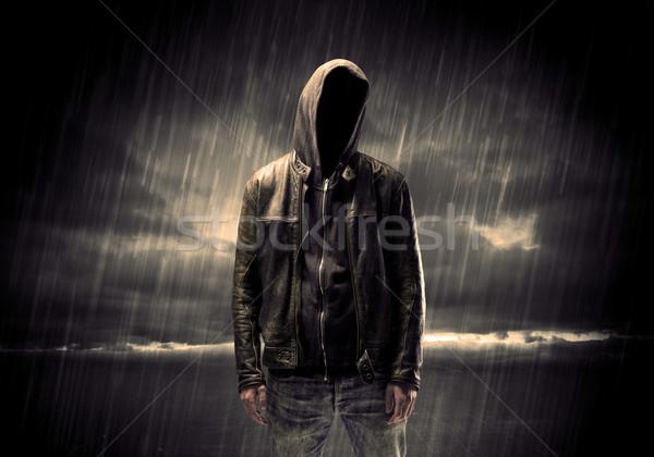 Anoniem terrorist nacht dief onherkenbaar permanente Stockfoto © ra2studio
