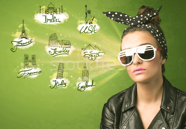 Happy young girl with sunglasses traveling to cities around the  Stock photo © ra2studio