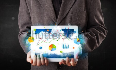 Persoon touchpad wolk technologie charts Stockfoto © ra2studio