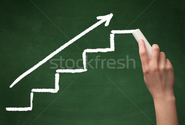 Kéz rajz lépcső iskolatábla lépcsősor nyíl Stock fotó © ra2studio