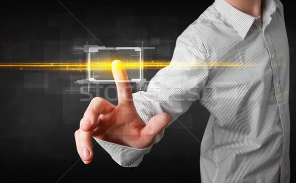 Tech anfassen Taste orange Licht Stock foto © ra2studio