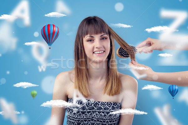 Young woman at hairdresser with air balloon theme Stock photo © ra2studio