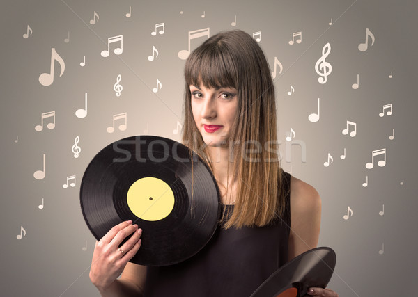 Bayan vinil kayıt genç kahverengi Stok fotoğraf © ra2studio