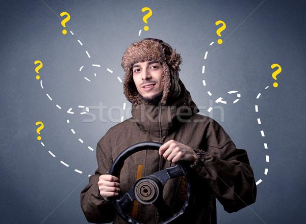 Homem volante moço preto pontos de interrogação Foto stock © ra2studio