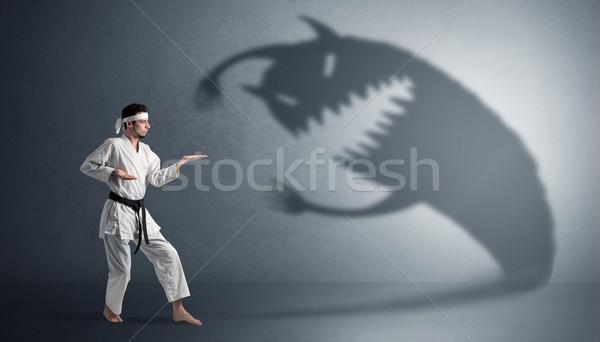 Karate férfi harcol nagy ijesztő árnyék Stock fotó © ra2studio