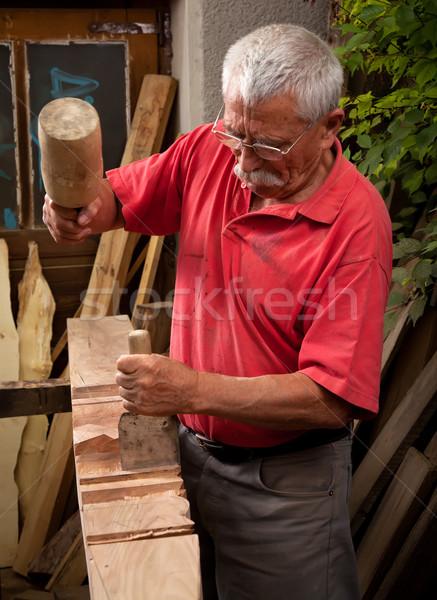 Photo stock: Travail · ciseler · vieux · main · bois · construction
