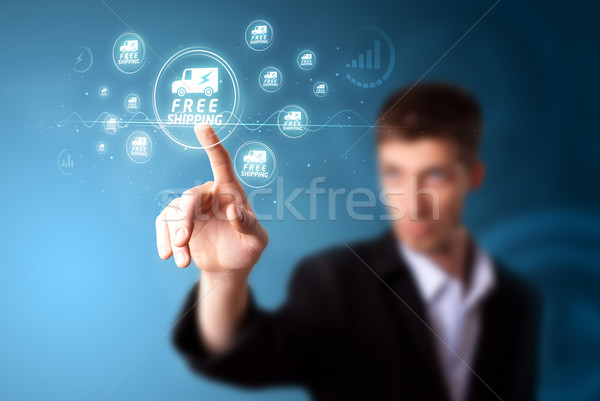 Stock photo: Businessman pressing promotion and shipping type of modern buttons