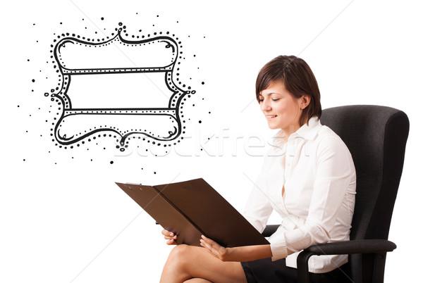Foto stock: Jovem · mulher · de · negócios · qualidade · vintage · etiqueta
