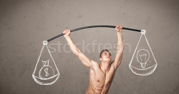 Kas adam dengeli güçlü spor salonu egzersiz Stok fotoğraf © ra2studio