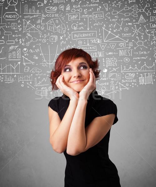 молодые довольно Lady рисованной иконки белый Сток-фото © ra2studio