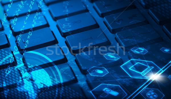 Stockfoto: Toetsenbord · multimedia · iconen · wereldbol