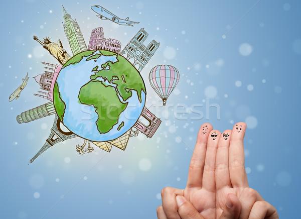 Stok fotoğraf: Parmak · suratlar · ünlü · dünya · mutlu