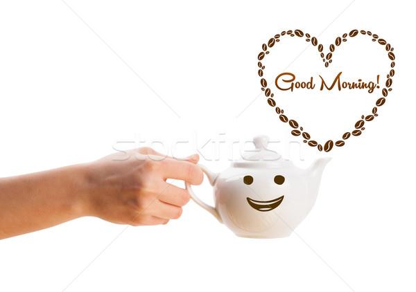 Café pot grains de café coeur bonjour Photo stock © ra2studio