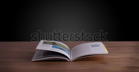 Nyitott könyv fából készült fedélzet copy space könyv terv Stock fotó © ra2studio