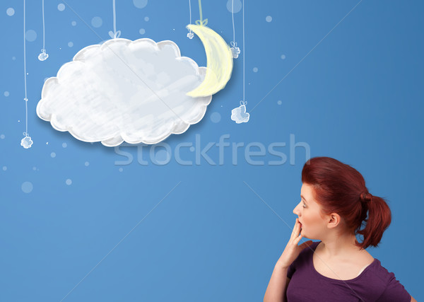 Młoda dziewczyna patrząc cartoon noc chmury księżyc Zdjęcia stock © ra2studio