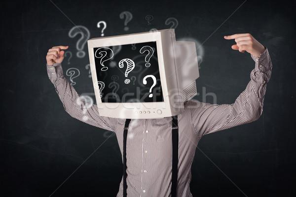 Işadamı bilgisayar monitörü kafa soru işaretleri iş yüz Stok fotoğraf © ra2studio