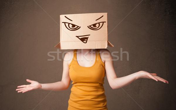 Gestikulieren Karton Kopf Bösen stehen Stock foto © ra2studio