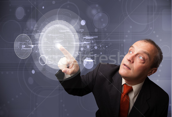 Imprenditore toccare abstract alta tecnologia pulsanti Foto d'archivio © ra2studio