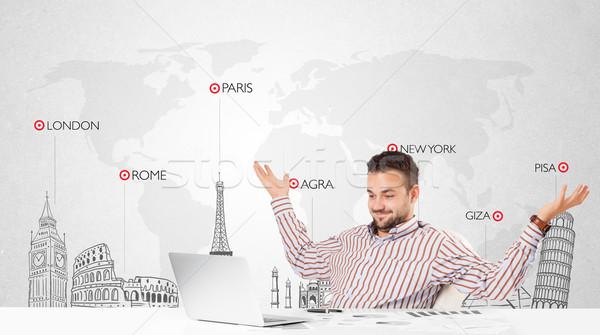 Stockfoto: Zakenman · wereldkaart · wereld · knap · jonge · business