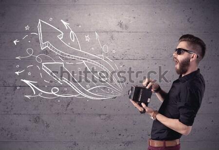 面白い 男 写真 レトロな カメラ ストックフォト © ra2studio
