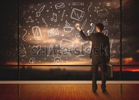 Funny hipster guy shouting drawn items Stock photo © ra2studio