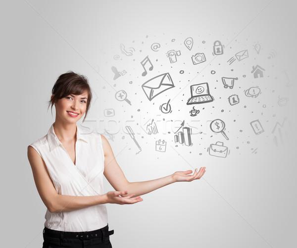 Affaires fille dessinés à la main croquis graphiques Photo stock © ra2studio